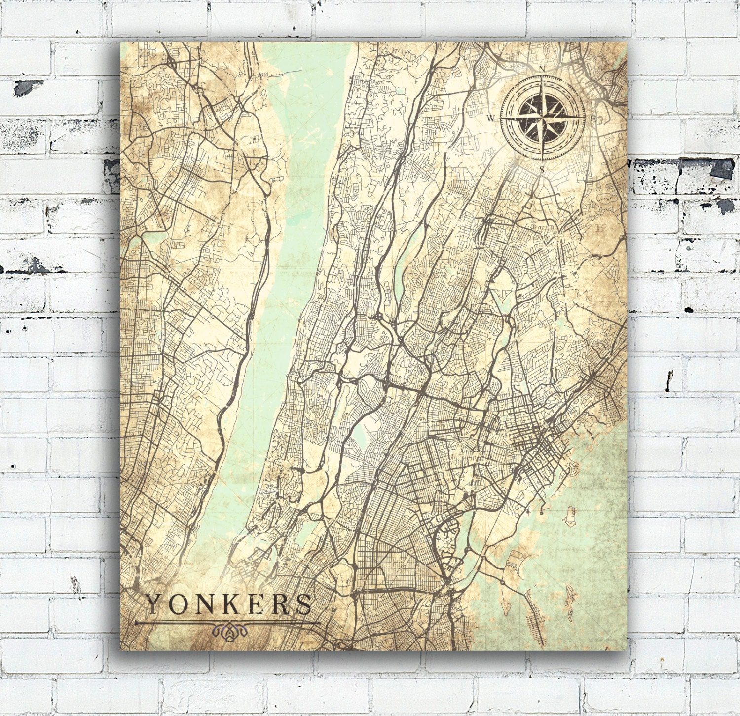 YONKERS NY Canvas Print Yonkers City NYC New York City Map Yonkers on