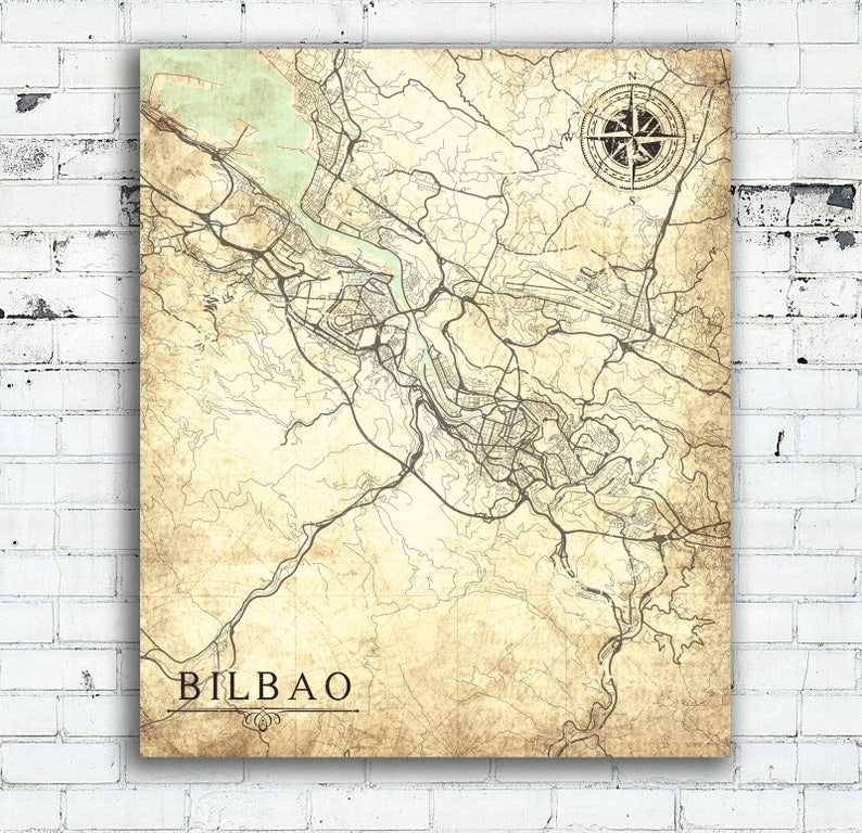 Bilbao Canvas Print Spain Vintage Map Bilbao City Spain Etsy