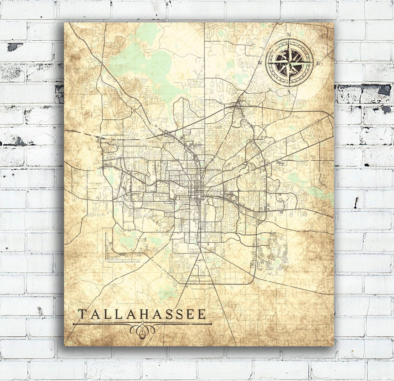 Tallahassee Fl Canvas Print Florida Tallahassee Fl Vintage Map City