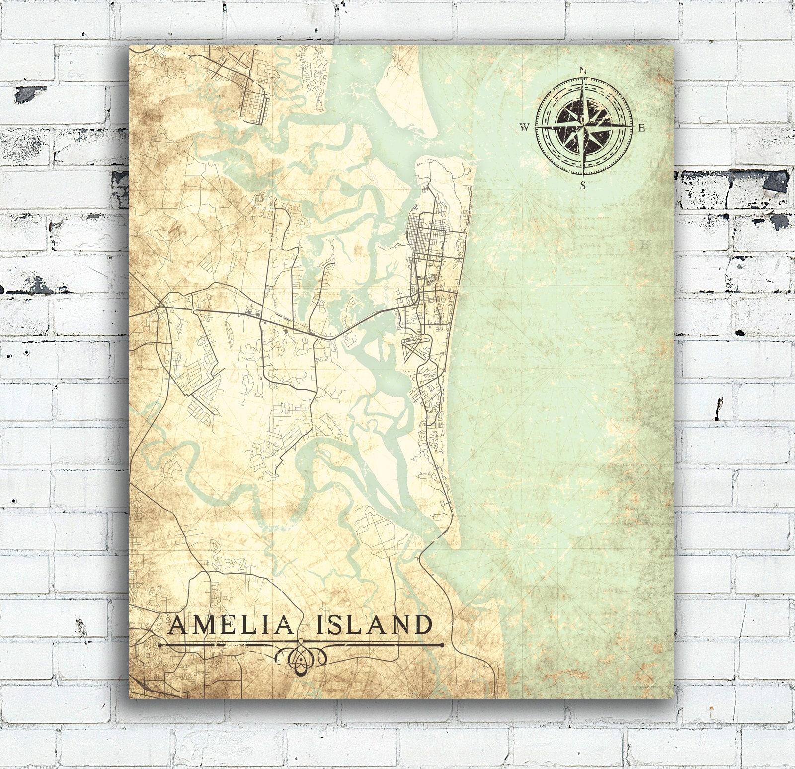 AMELIA ISLAND FL Canvas Print Florida Fl Vintage map City ... on map of gasparilla island florida, map of merritt island florida, map of ponte vedra beach florida, map of big pine key florida, map of st. george island florida, map of pine island florida, map of orchid island florida, map of florida cities, map of anastasia island florida, map of okaloosa island florida, map of st. augustine florida, map of little torch key florida, map of st. simons island georgia coast, map of royal palm beach florida, map of dog island florida, map of captiva island florida, map of cayo costa florida, map of hutchinson island florida, map of anna maria island florida, large map of florida,