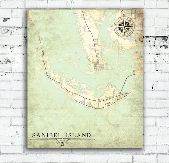 City Map Of Florida.Sanibel Island Canvas Print Florida Fl Vintage Map City Map Etsy