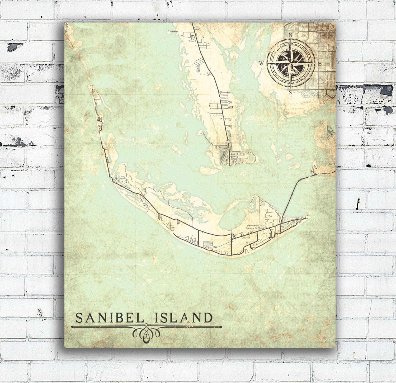 Sanibel Island Canvas Print Florida Fl Vintage Map City Map Florida