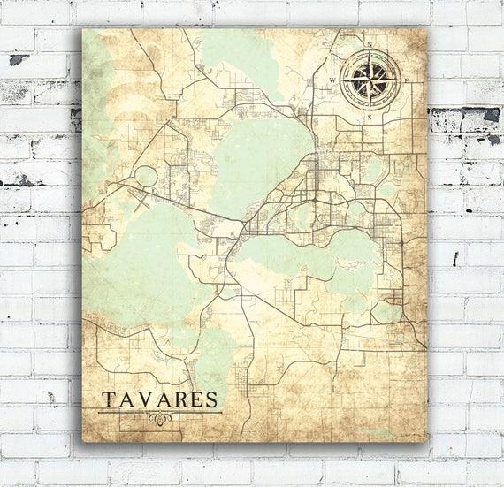 Map Tavares Florida.Tavares Fl Canvas Print Florida Fl Vintage Map Town Plan City Etsy