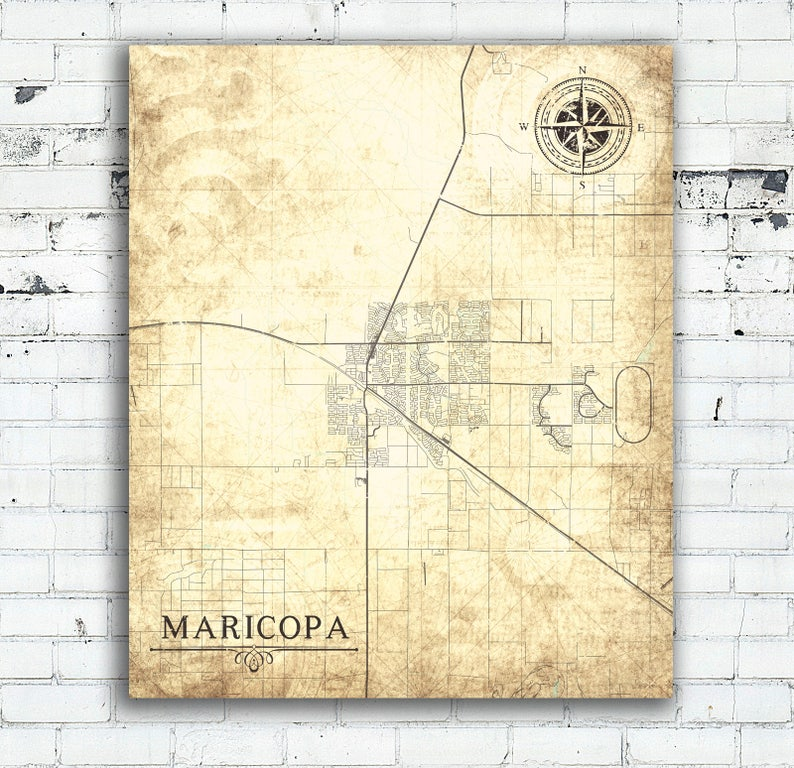 MARICOPA AZ Canvas Print Arizona Vintage map Town City Map Vintage Wall Art  minimal home decor art map poster retro antique old wall art map