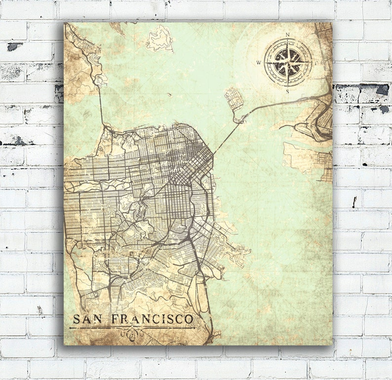 photo about Printable Map of San Francisco identify SAN FRANCISCO CA Canvas print California sf ca Classic map San Francisco Town Basic map Artwork poster present print retro aged antique metropolis map