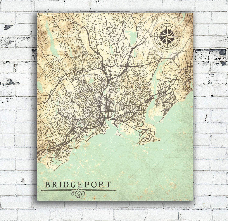 BRIDGEPORT CT Canvas Print CT Connecticut Vintage map Ct Vintage ...