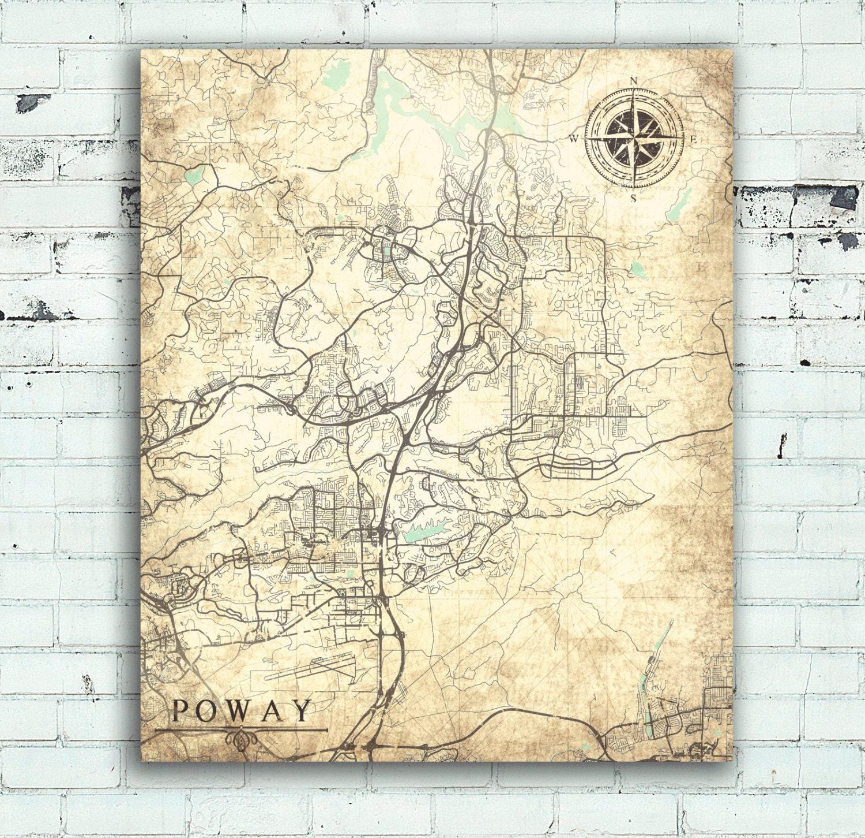 Poway California Map.Poway Ca Canvas Print Ca California Vintage Map City Town Plan