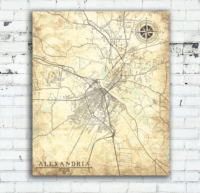 ALEXANDRIA LA Canvas Print Louisiana LA City Vintage map Town Plan ...