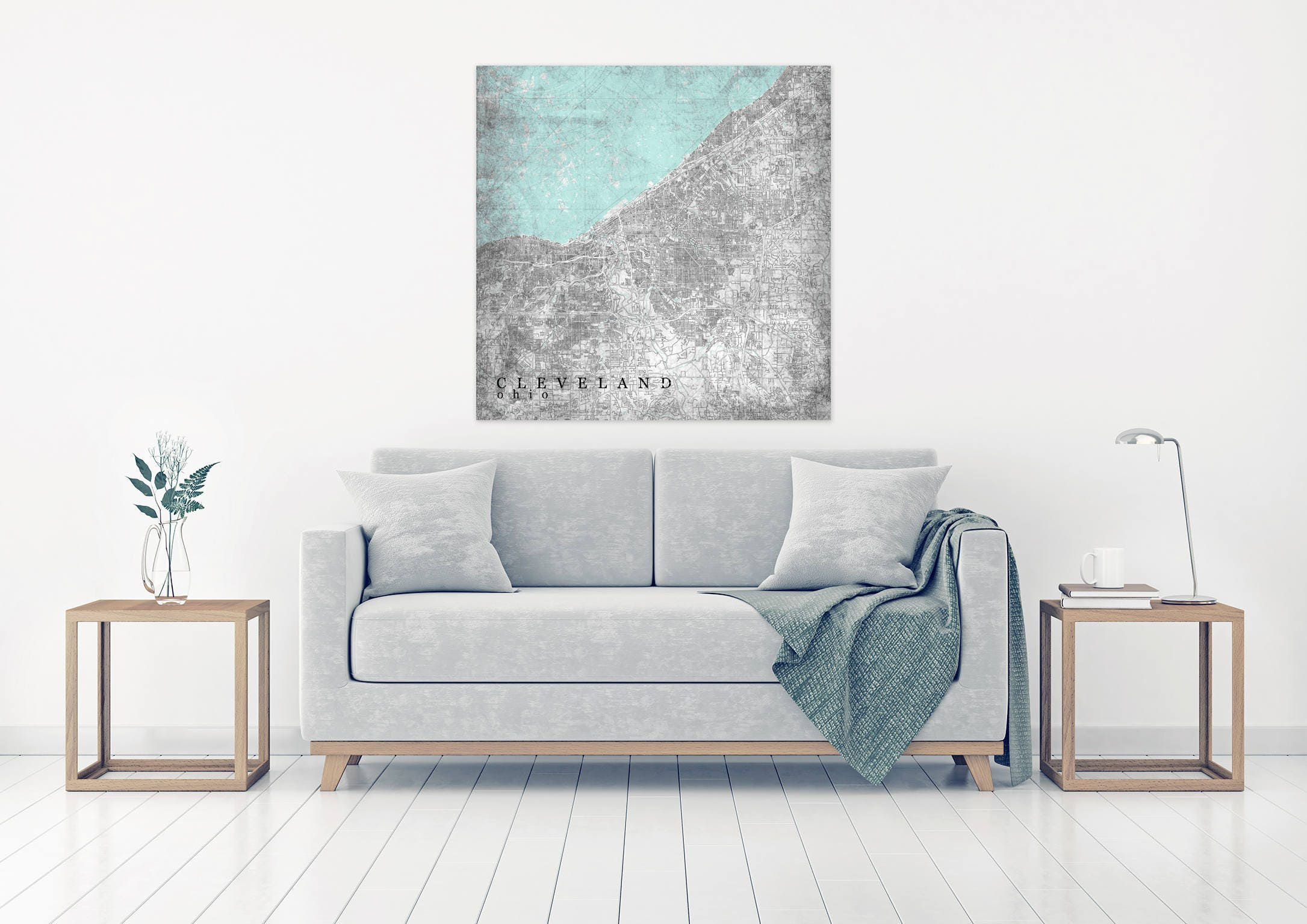 Cleveland Oh Canvas Print Ohio Oh Vintage Map Cleveland
