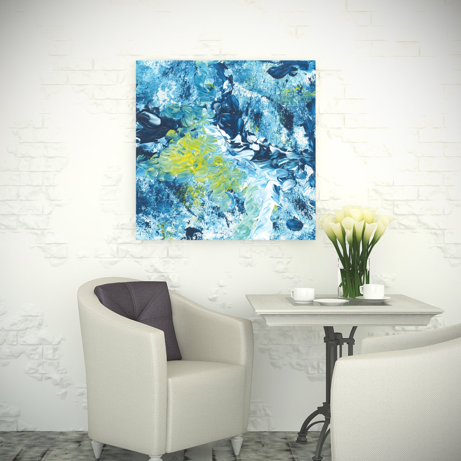 Canvas Print Square Abstract Wallart White Light Blue