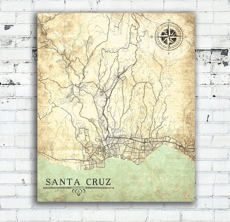 Santa Cruz California Map.Santa Cruz Ca Canvas Print California Vintage Map Santa Cruz Ca City Map Vintage Map Wall Art Poster Vintage Retro Old Gift Home Decor Map