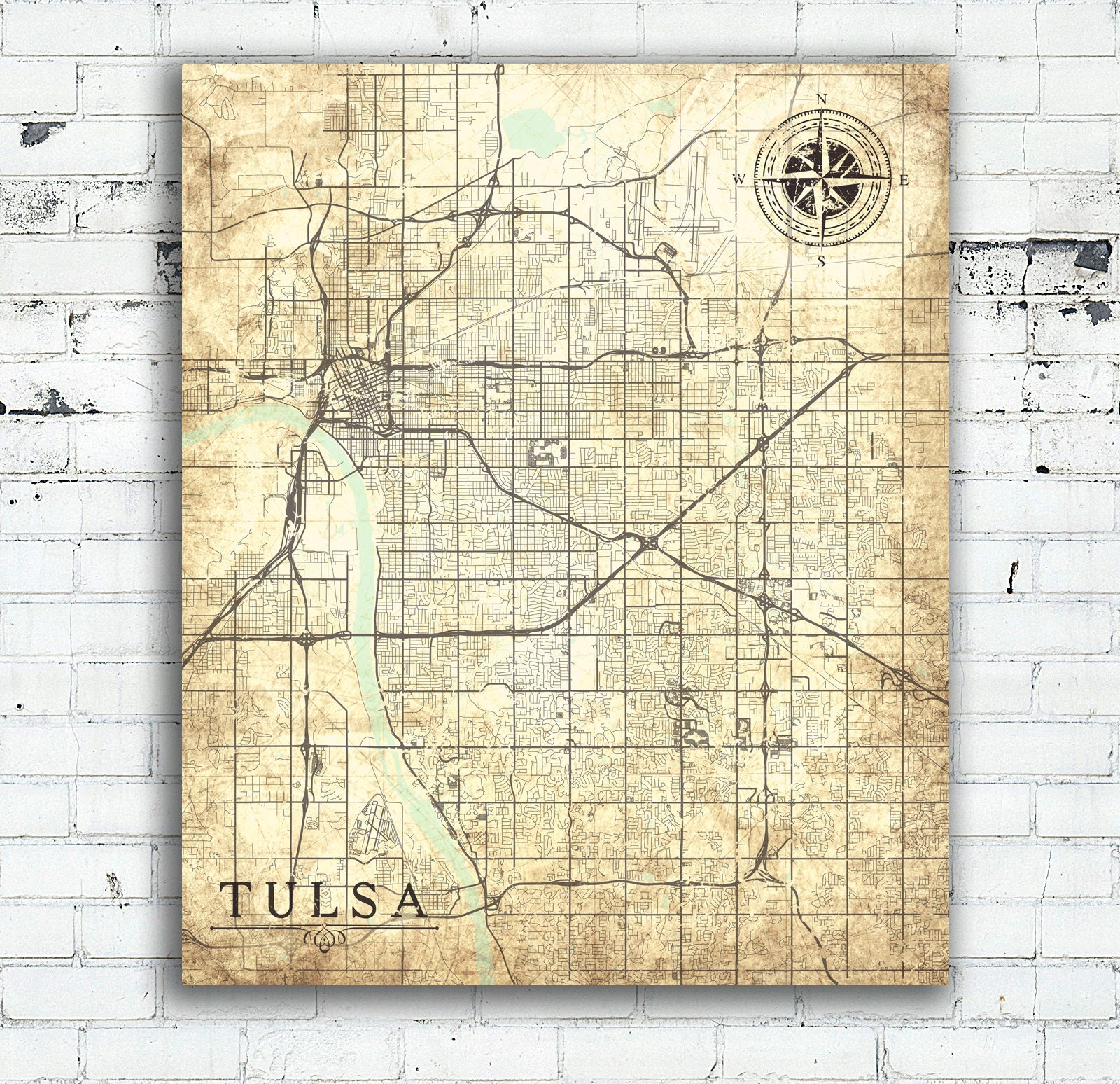 TULSA OK City Canvas Print OK Oklahoma Vintage Map Tulsa