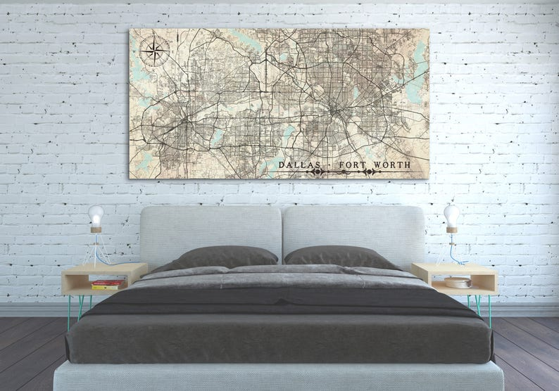 DALLAS FORT WORTH Texas Tx Canvas Print Vintage Map