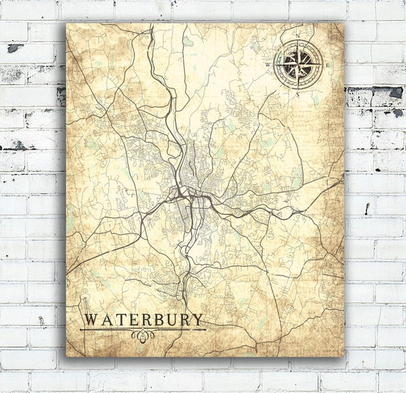 WATERBURY CT Canvas Print Connecticut Vintage map Waterbury Ct | Etsy