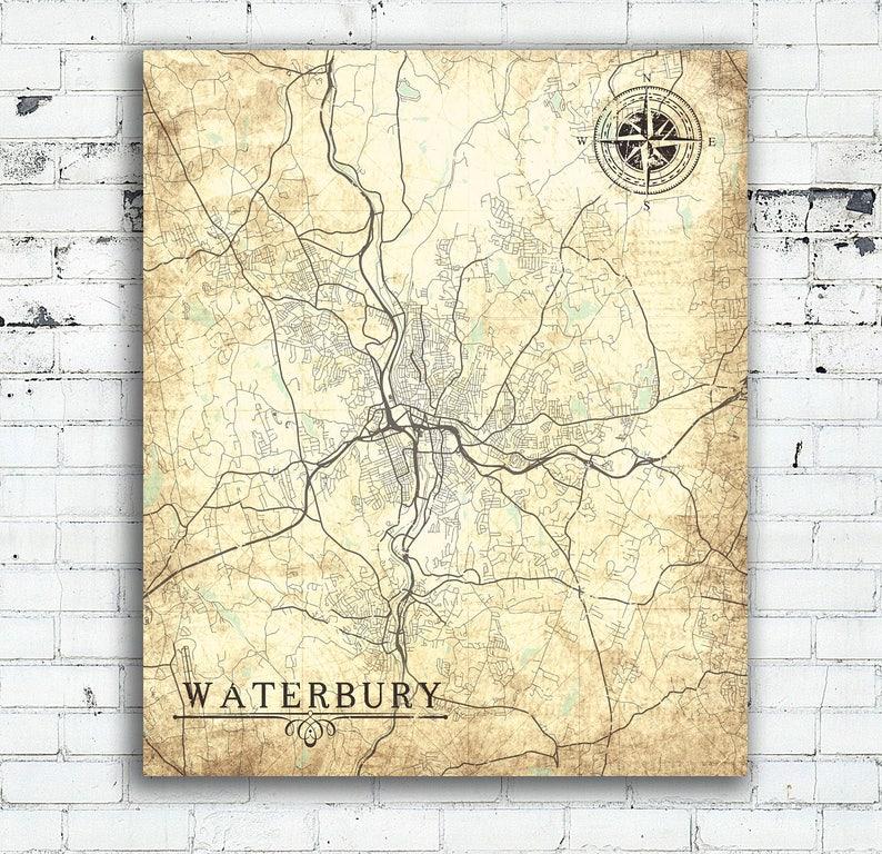 WATERBURY CT Canvas Print Connecticut Vintage map Waterbury Ct | Etsy