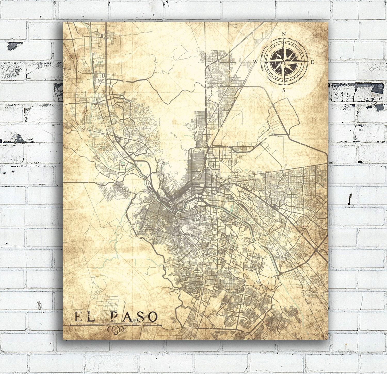 EL PASO TX Canvas Print Texas tx Vintage map El Paso City Vintage El ...