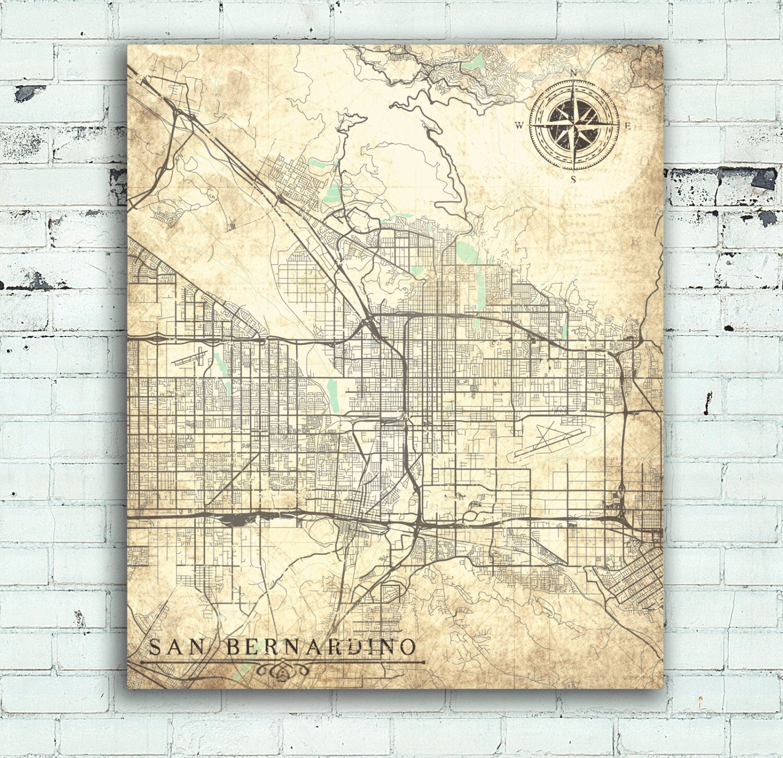 SAN BERNARDINO CA Canvas Print Ca California Vintage map San ... on