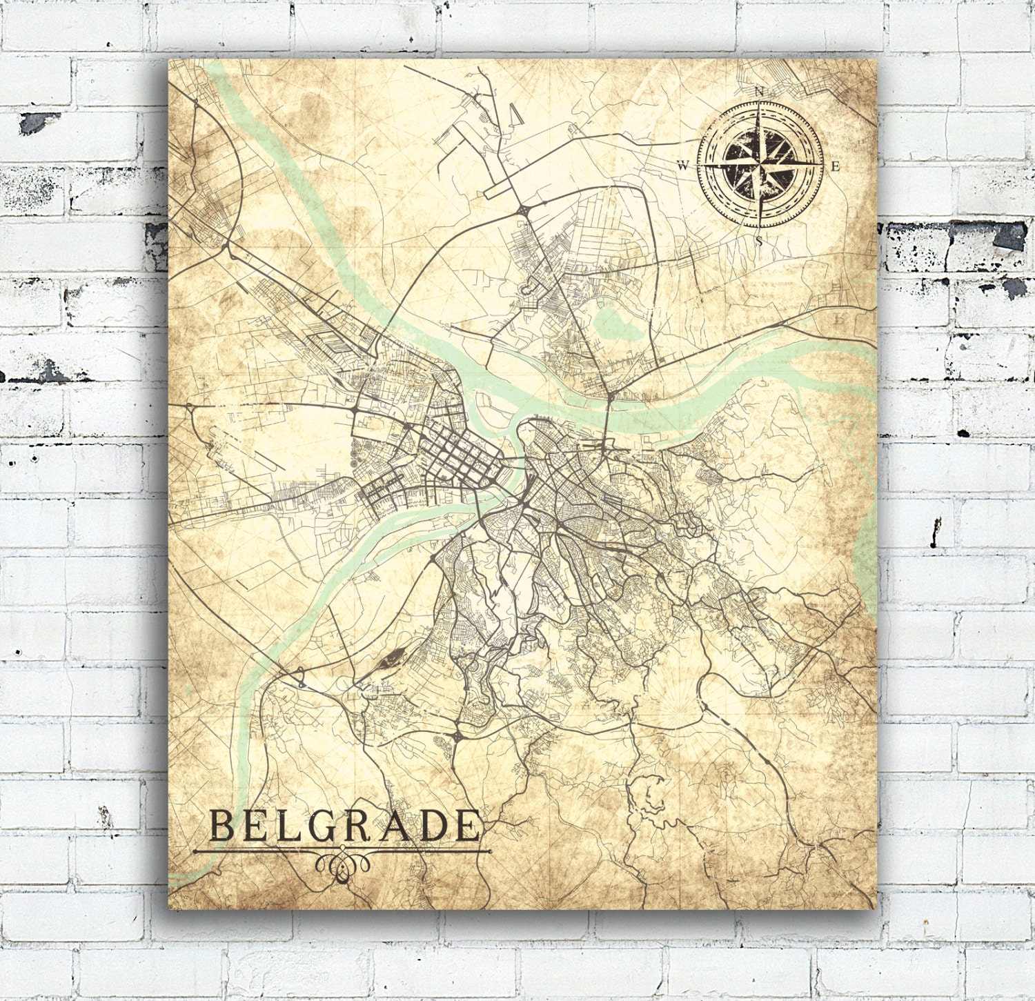 Belgrade Canvas Print Serbia Vintage Map Belgrade Serbia City Plan