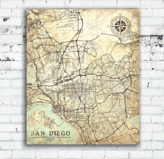 SAN DIEGO CA Leinwand Druck Kalifornien Vintage Karte San Diego Ca City  Vintage Karte Wand Kunst Poster retro alte Vintage Karte Geschenk große ...