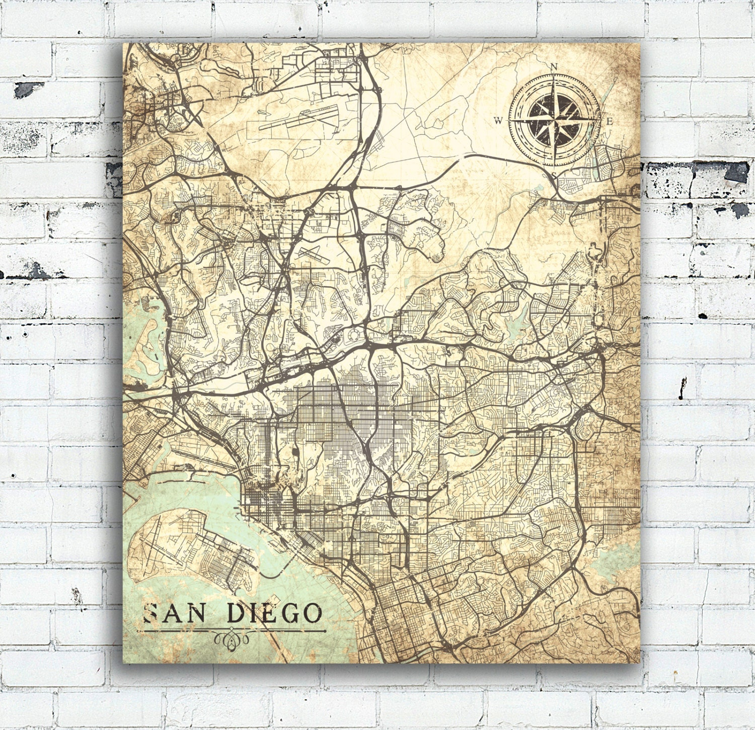 SAN DIEGO CA Canvas Print California Vintage Map San Diego