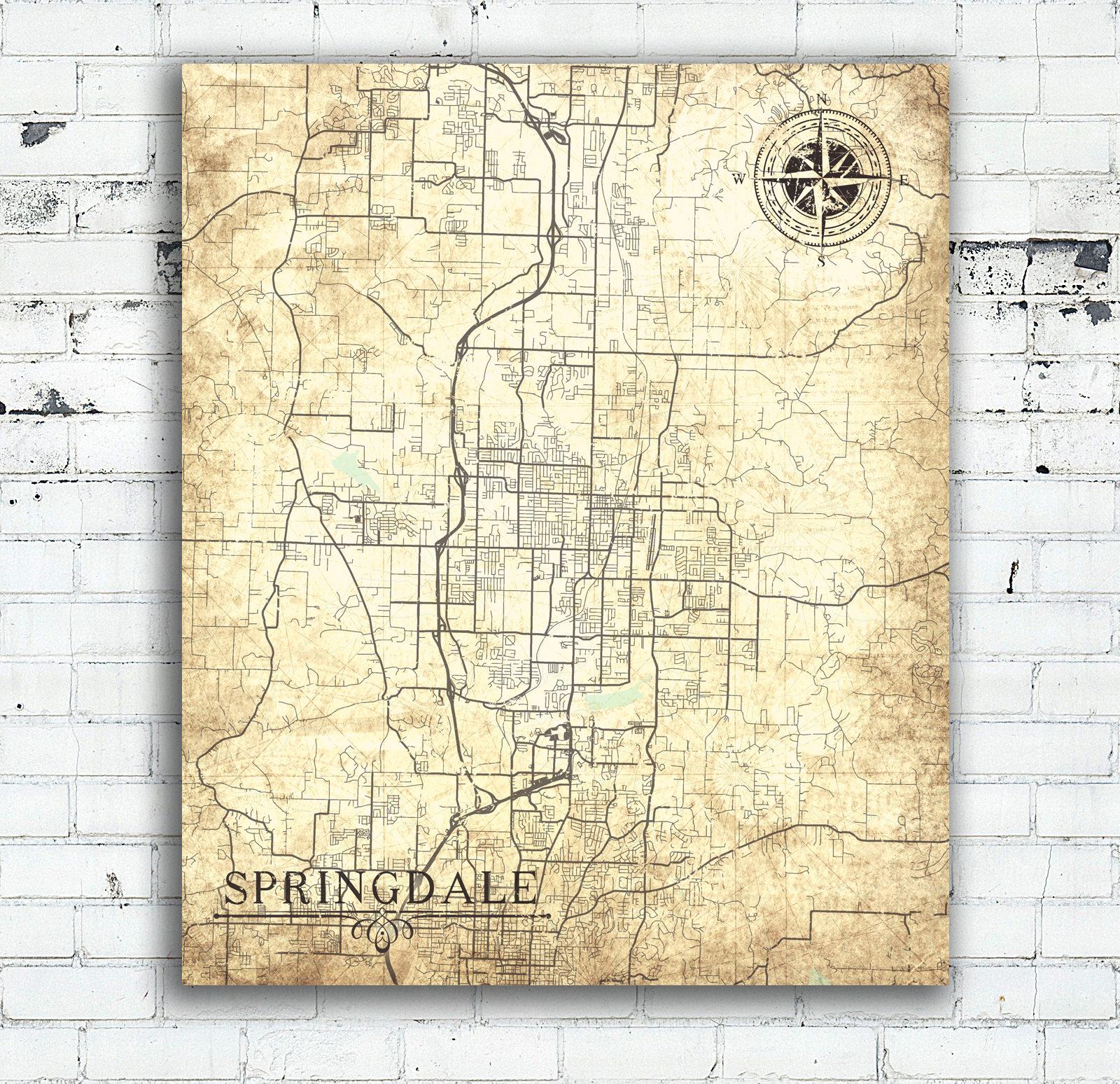 SPRINGDALE AR Canvas Print Arkansas Ar Vintage map City Map Vintage ...