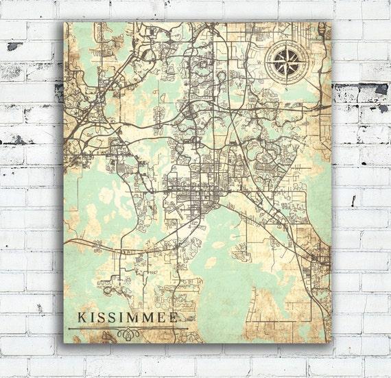 Map Of Kissimmee Florida.Kissimmee Fl Canvas Print Florida Fl Vintage Map Kissimmee Etsy