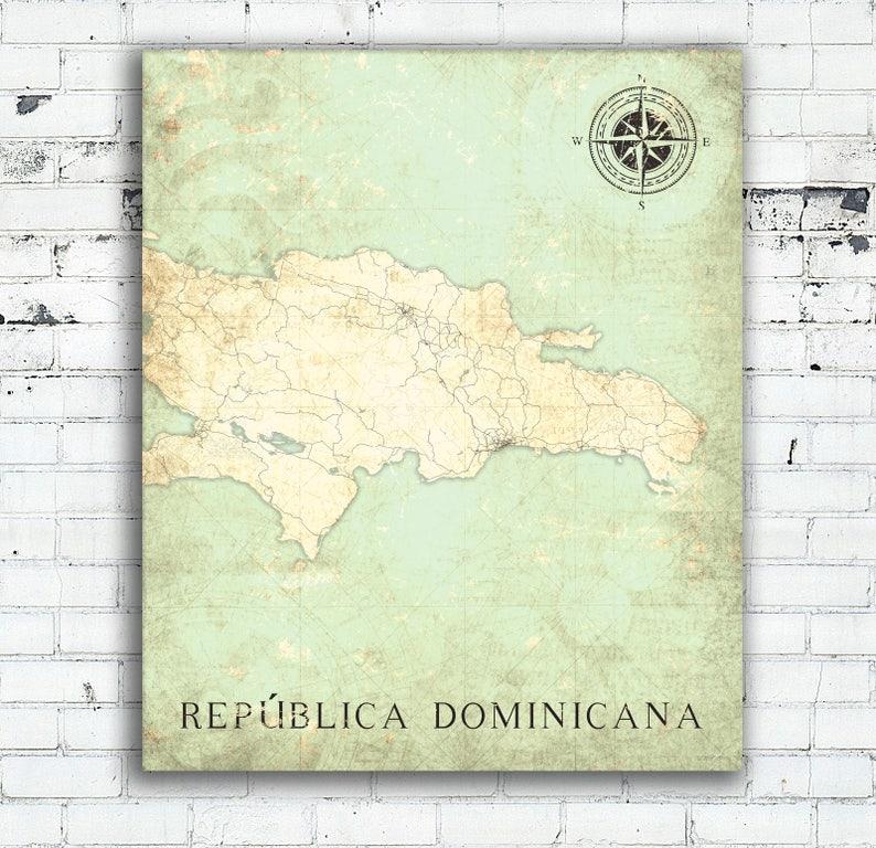 DOMINICANA Canvas Print Dominican Republic Vintage map República Dominicana  wall art poster Vintage retro old map travel gift home decor map