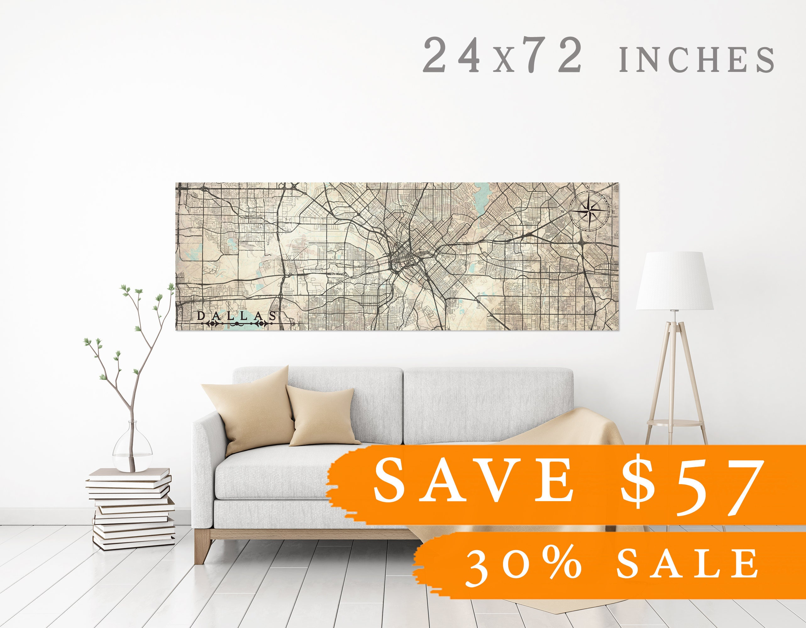 SALE 30% DALLAS TX save 57 dollars Canvas Print Texas tx Vintage map ...