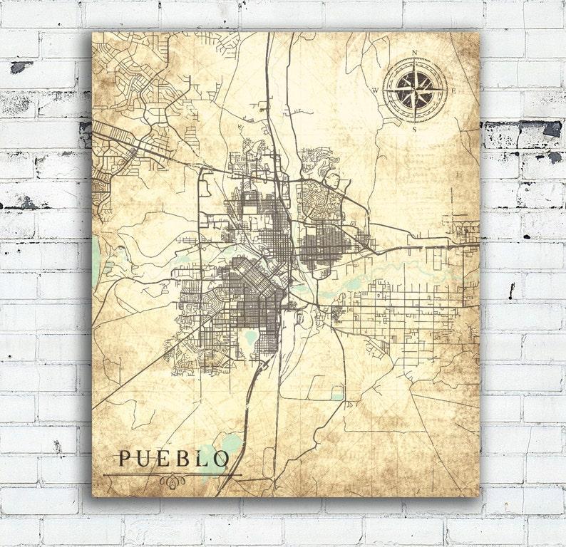 PUEBLO CO Canvas Print Colorado Vintage map Pueblo Co Vintage   Etsy