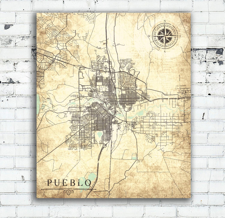 Pueblo Co Canvas Print Colorado Vintage Map Pueblo Co Vintage City