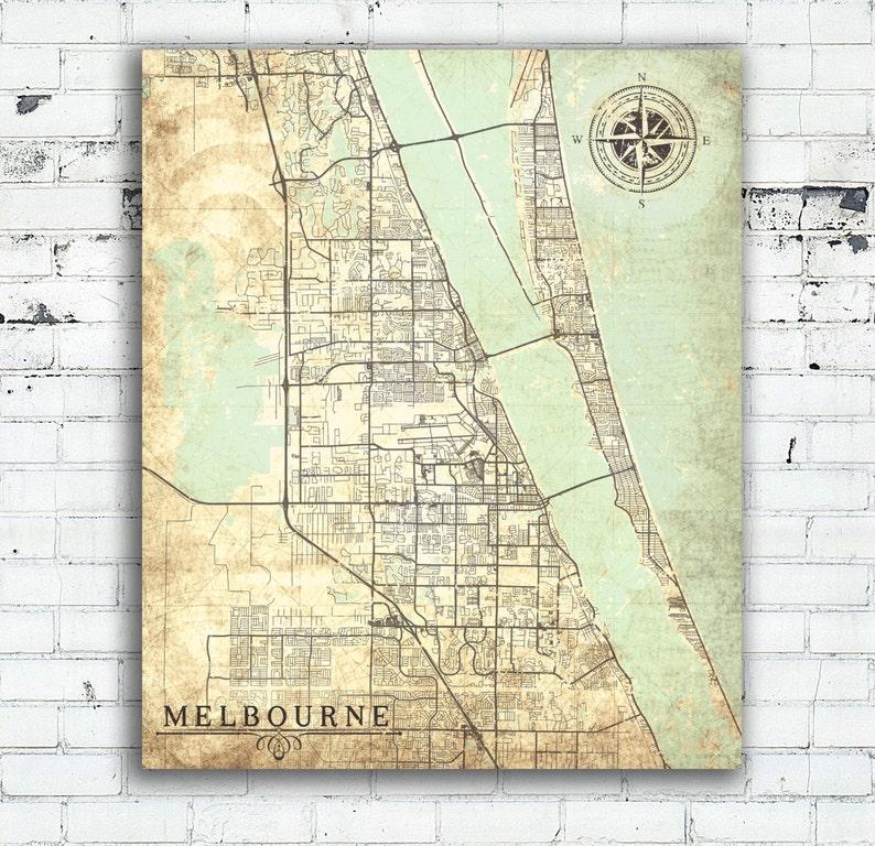 Melbourne Fl Canvas Print Florida Fl Vintage Map Melbourne Etsy