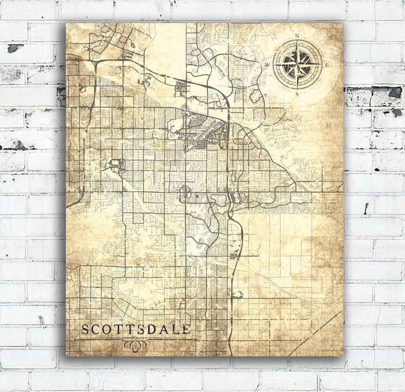 SCOTTSDALE AZ Canvas Print Arizona Vintage map Scottsdale City | Etsy