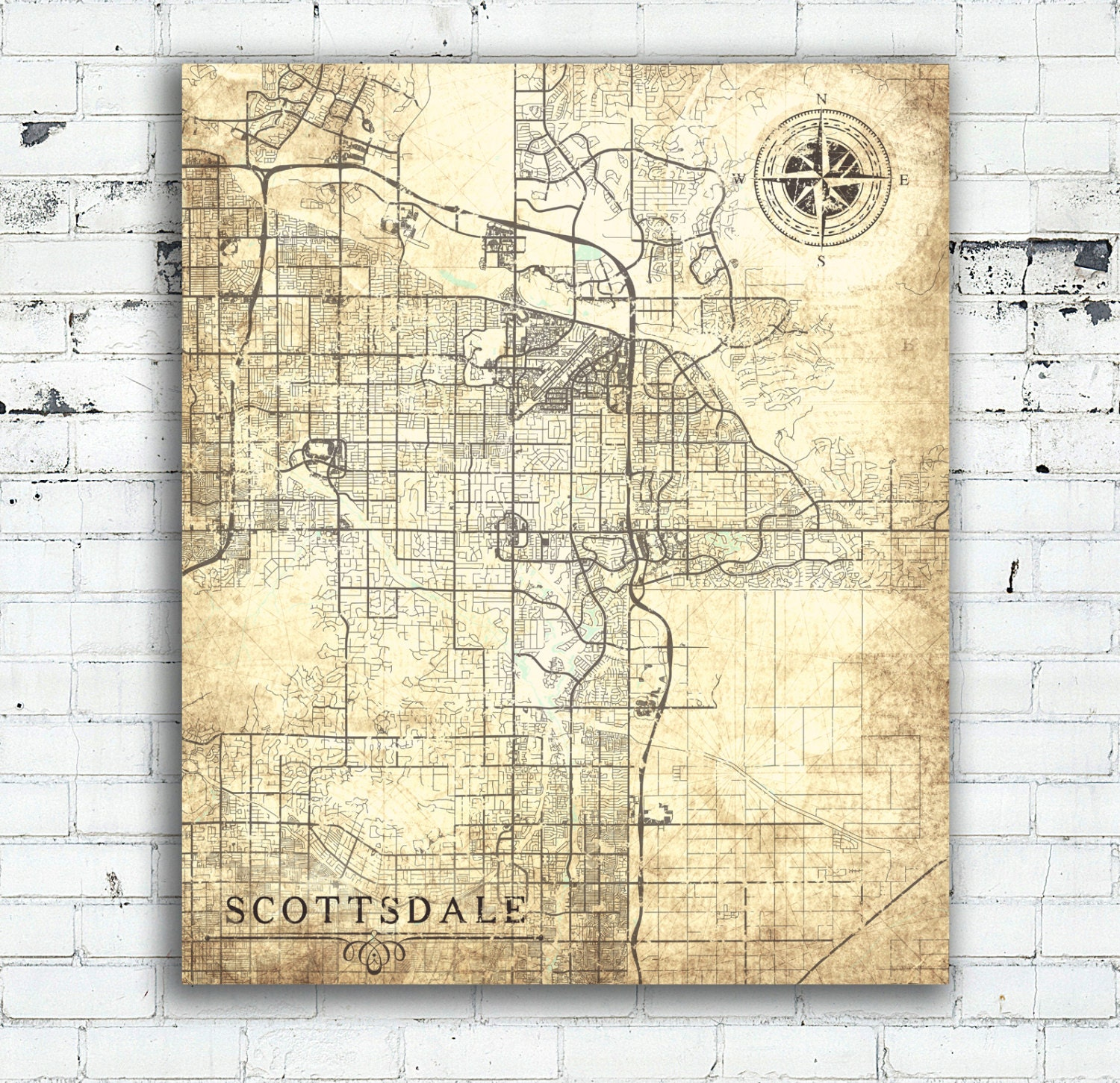 SCOTTSDALE AZ Canvas Print Arizona Vintage map Scottsdale City Map ...