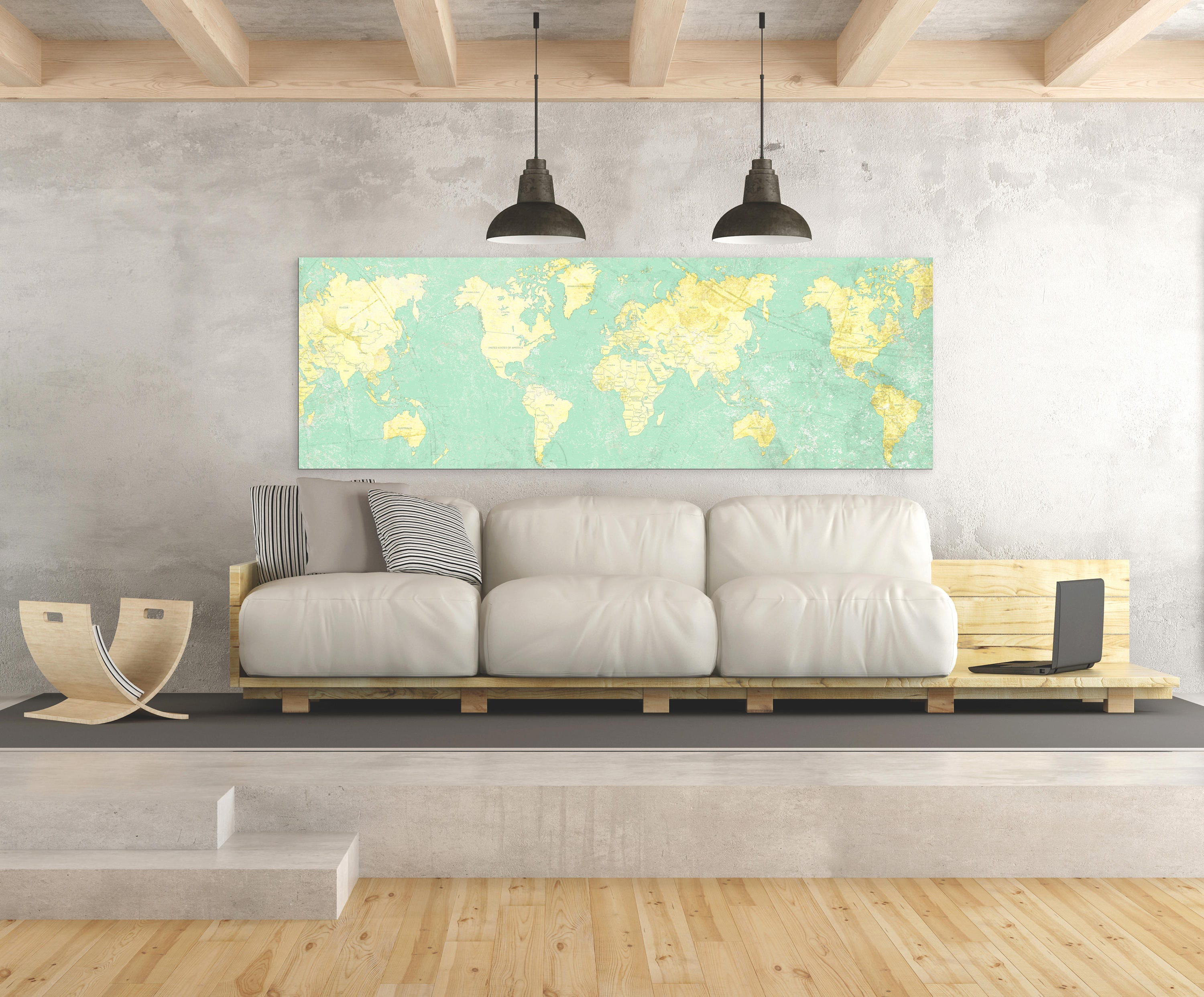 World map canvas print vintage light wall art mint turquoise yellow world map canvas print vintage light wall art mint turquoise yellow old world map panoramic large wall art vintage oversized wall art poster gumiabroncs