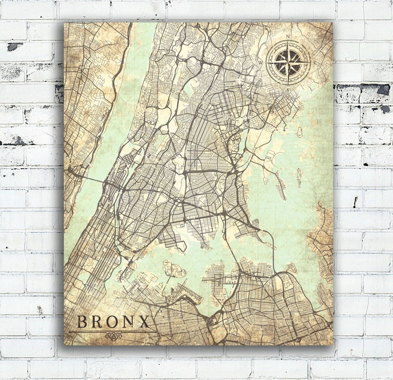 Map Of New York Bronx.Bronx Ny Canvas Print Bronx City Nyc New York Bronx Vintage Map Wall Art Poster Map Vintage Retro Old Antique Bronx City Bedroom Decor Gift