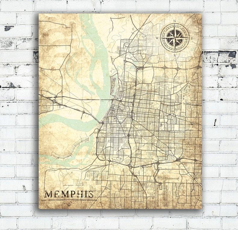 MEMPHIS TN Canvas Print Tennessee tn Vintage map Memphis tn | Etsy