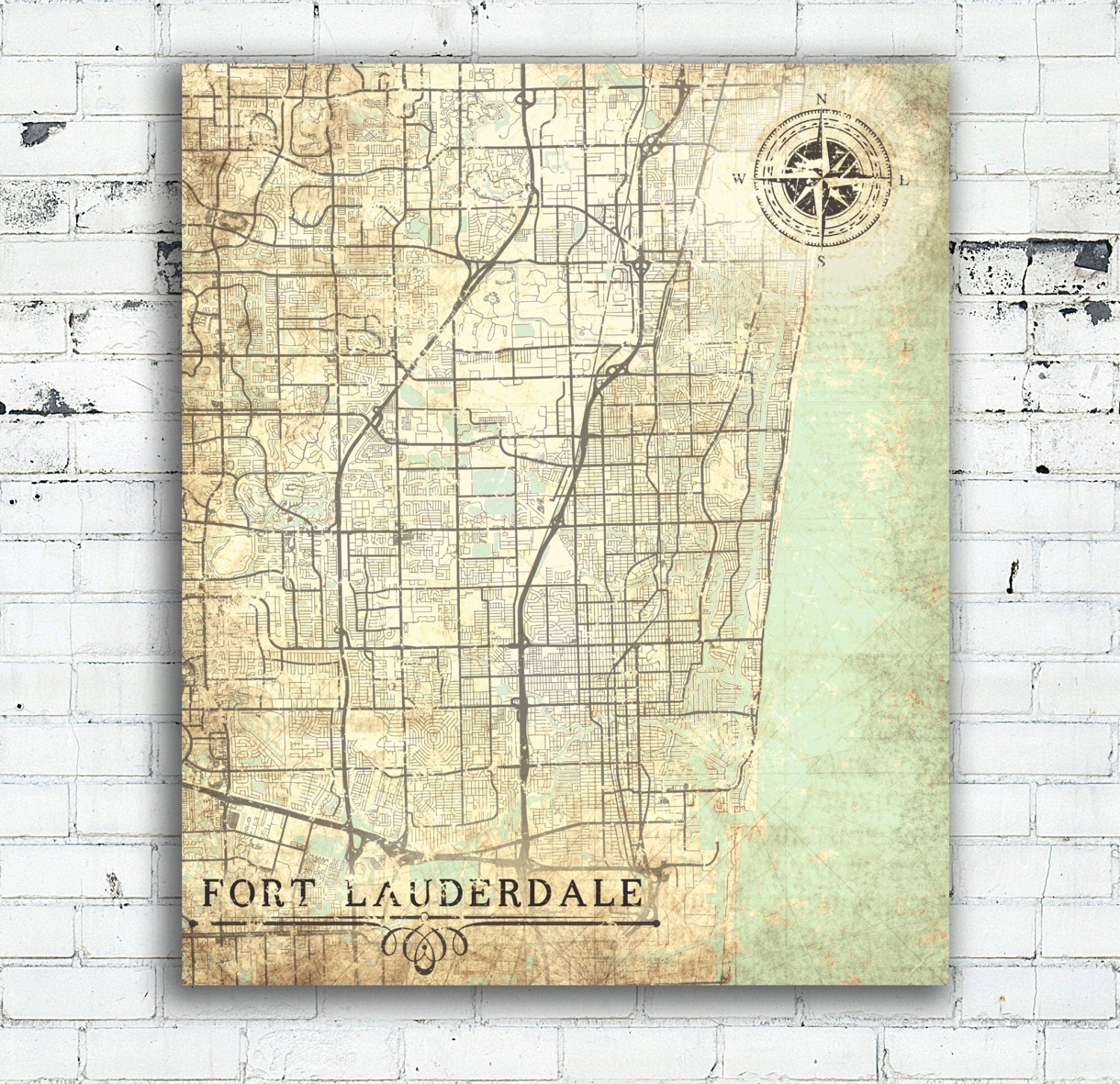 Ft Lauderdale On Map Of Florida.Fort Lauderdale Canvas Print Fl Florida Vintage Map Florida Wall Art