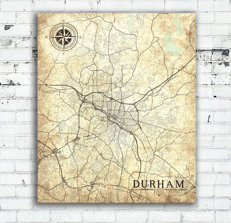 Durham Nc Canvas Print North Carolina Vintage Map Durham Nc City