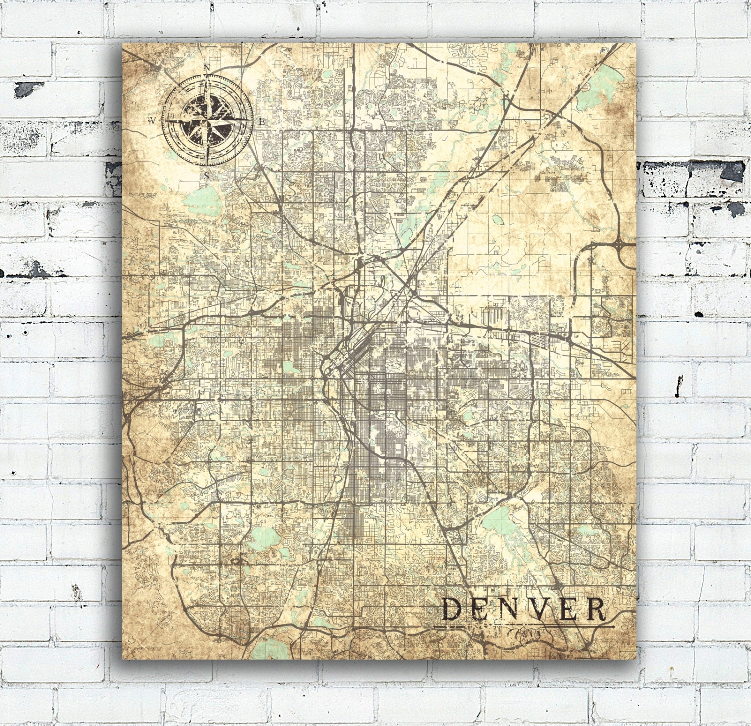 DENVER CO Canvas print Colorado CO Vintage map Denver Co ... on denver neighborhood map, denver city limits map, denver city map online, denver surrounding cities, denver metro area city maps, denver city council map, denver colorado usa map, denver on the map, denver co, university of colorado denver anschutz campus map, denver city park map, denver city map with locations, denver united states map, denver metro map with city boundaries, denver airport map, denver las vegas map, denver castle rock map, denver i-70 colorado exits map, cherry creek denver colorado map, old denver colorado map,