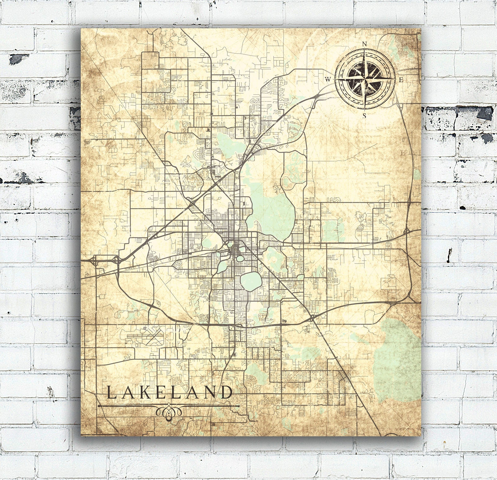 Lakeland Florida Map.Lakeland Fl Canvas Print Florida Fl Vintage Map Lakeland City Map