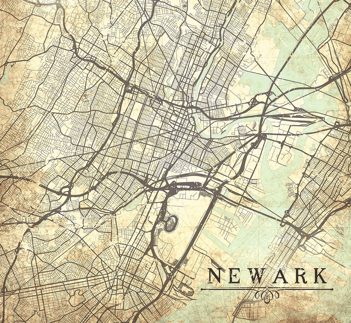NEWARK NJ New Jersey Vintage Map Vintage Antique Map