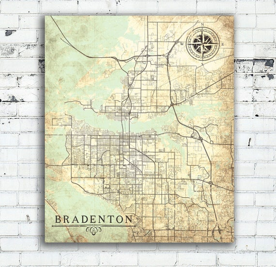 Map Of Bradenton Florida.Bradenton Fl Canvas Print Florida Vintage Map Bradenton Fl Etsy