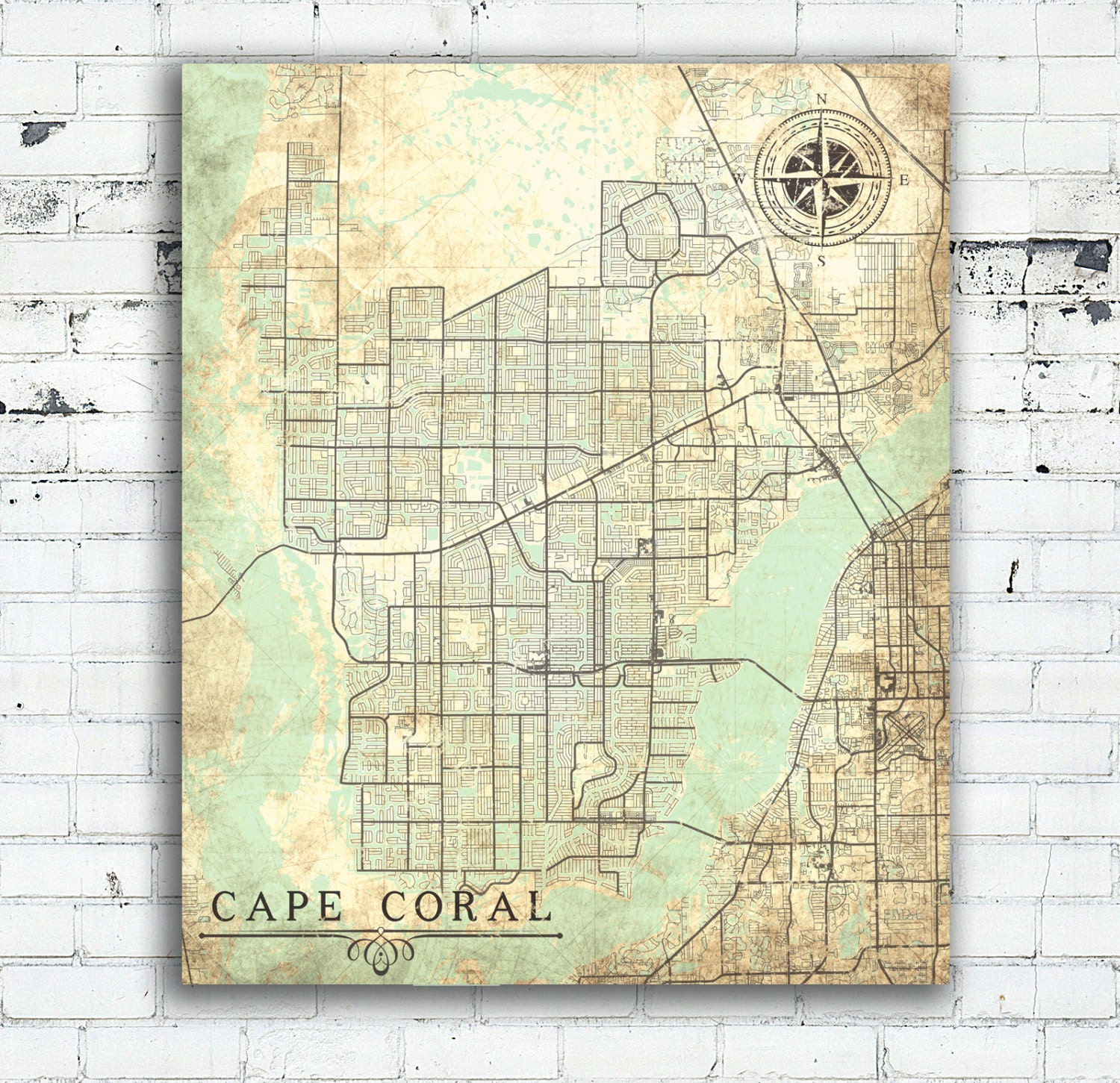 Antique Map Of Florida.Cape Coral Fl Canvas Print Florida Fl Vintage Map Cape Coral Etsy