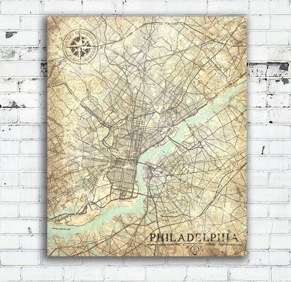 PHILADELPHIA Canvas Print PA Pennsylvania Vintage map Vintage Antique map  Philadelphia pa City Wall Art poster gift retro old home decor map