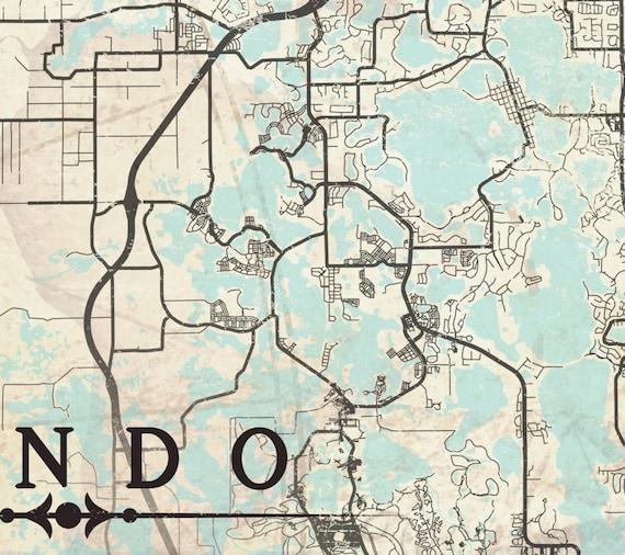 Map Of Orlando Florida.Orlando Fl Canvas Print Florida Fl Orlando Vintage Map Orlando Etsy