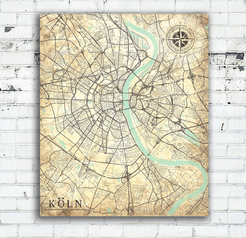 COLOGNE Canvas Print Germany Vintage Map Cologne Köln City Vintage - Vintage europe map poster