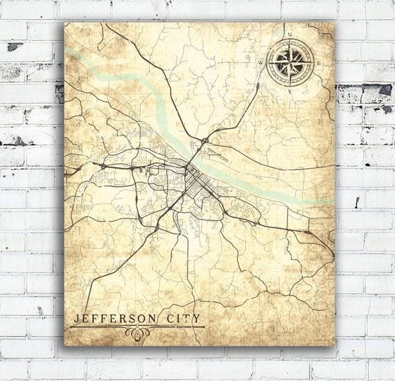 JEFFERSON CITY MO Canvas Print Missouri Jefferson City Mo Vintage map Wall  Art poster map Vintage retro home decor wall art ivory cream art
