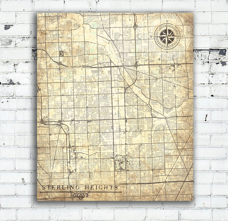 Sterling Heights Mi Canvas Print Michigan Mi City Vintage Map Wall