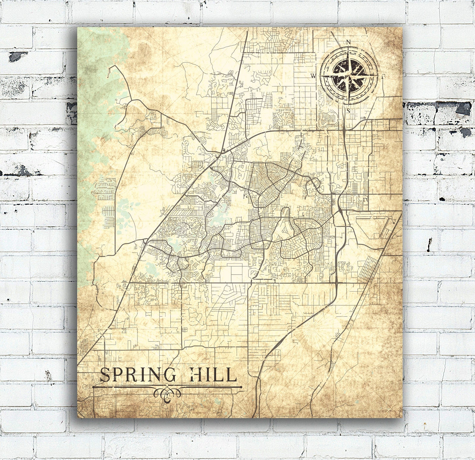 Map Of Spring Hill Florida.Spring Hill Fl Canvas Print Florida Fl Vintage Map Spring Hill City