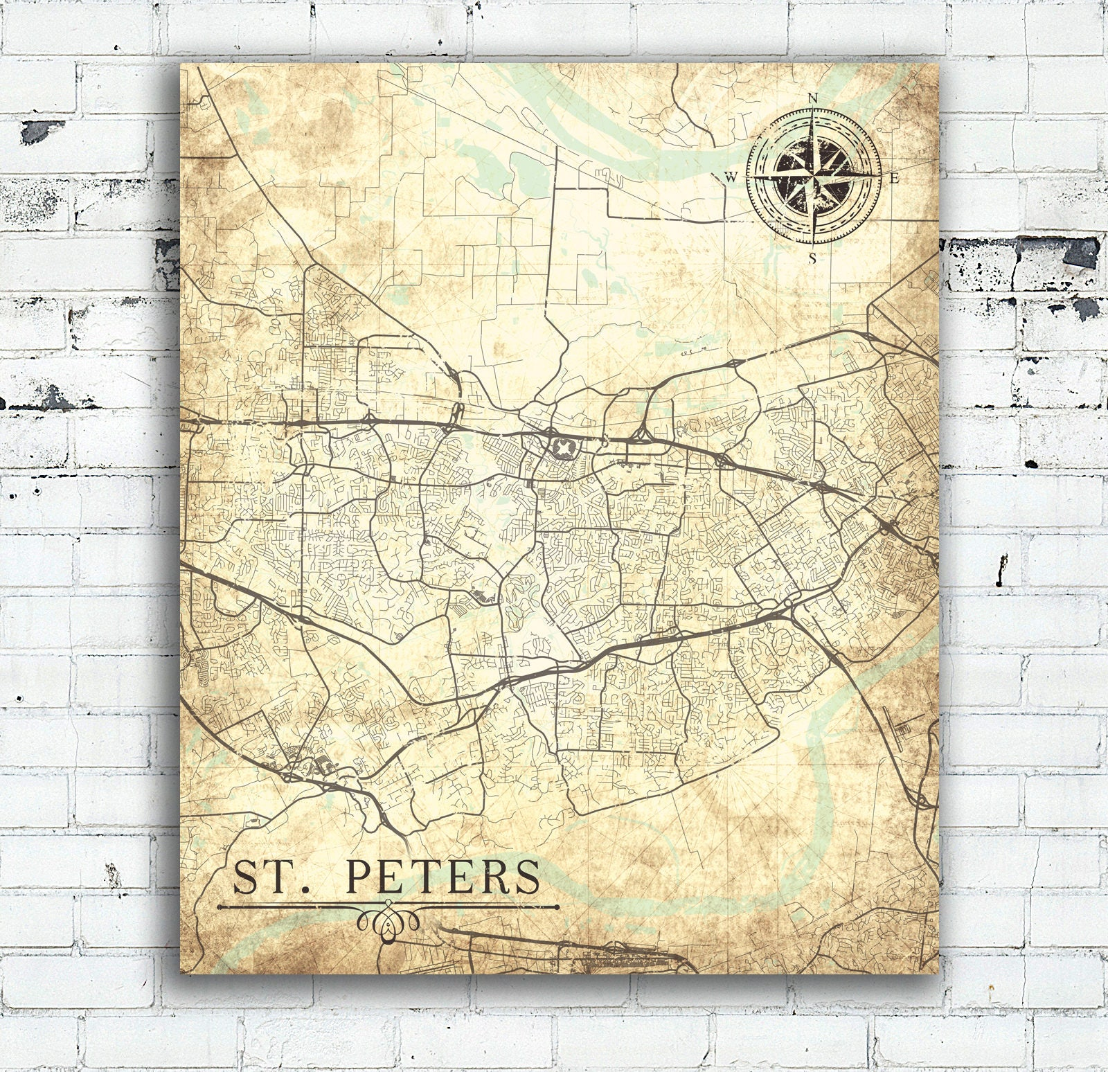 St Peters Missouri Map.St Peters Mo Canvas Print Missouri Mo City Vintage Map Wall Etsy